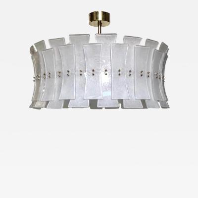 Italian Contemporary Art Deco Design White Frosted Murano Glass Drum Chandelier