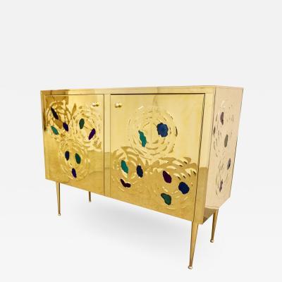 Italian Contemporary Design 2 Door Brass Cabinet with Blue Green Purple Agate