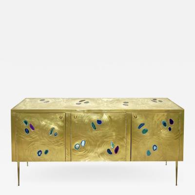 Italian Contemporary Fine Design Brass Cabinet with Blue Green Purple Agate