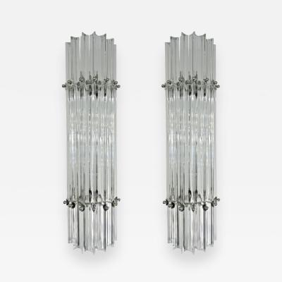 Italian Contemporary Minimalist Pair of Nickel Crystal Murano Glass Sconces