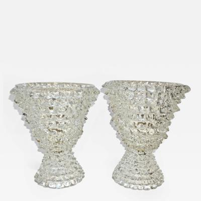 Italian Contemporary Pair of Crystal Rostrato Murano Glass Table Lamps
