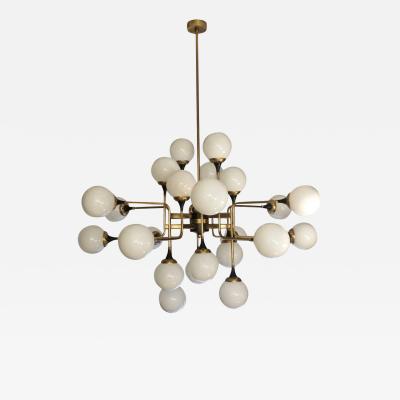 Italian Contemporary White Black Brass 24 Light Modern Asymmetric Chandelier