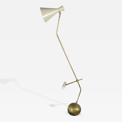 Italian Counter Weight Brass Table Lamp 1950s