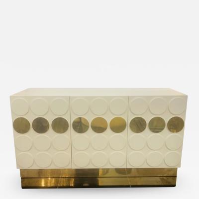 Italian Cream Lacquer and Brass Cabinet
