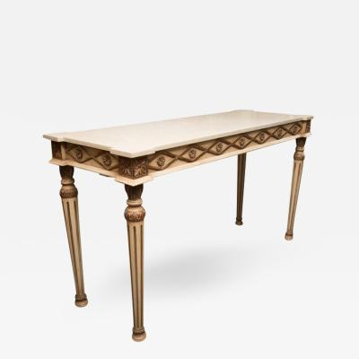 Italian Cream Painted Console with Limestone Top