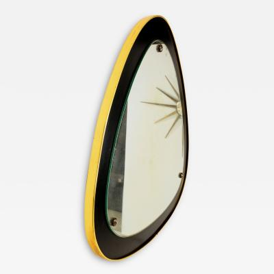 Italian Curvilinear Triangle Mirror in Brass and Ebonized Wood 1950s Italy