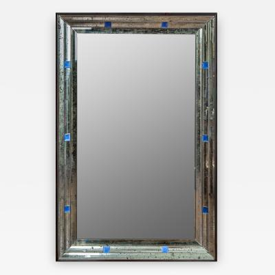 Italian Deco Style Glass Mirror with Cobalt Squares