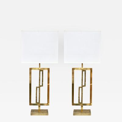 Italian Design Contemporary Pair of Cast Bronze and Gold Brass Rectangular Lamps