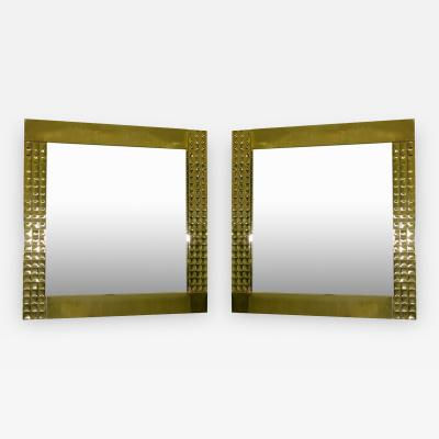 Italian Design Handcrafted Pair of Brass Mirrors with Jewel Like Detail 1970s