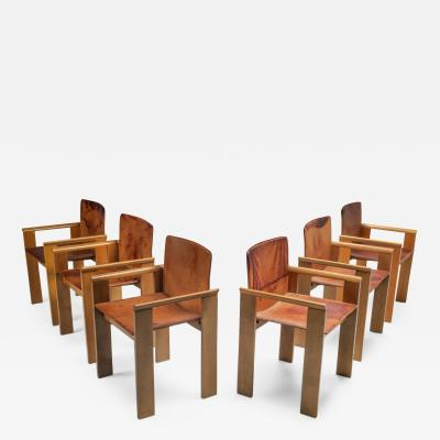 Italian Dining Chairs in Tan Leather in the Style of Scarpa 1970s