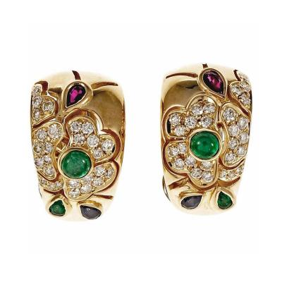 Italian Emerald Sapphire Ruby Diamond Gold Hoop Clip Post Earrings