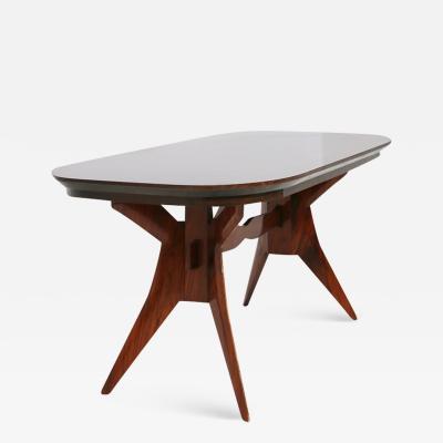 Italian Geometric Dining Table in wood school of Turin 1950s
