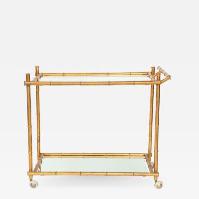 Italian Gilt Iron Stylized Bamboo Serving Bar Cart