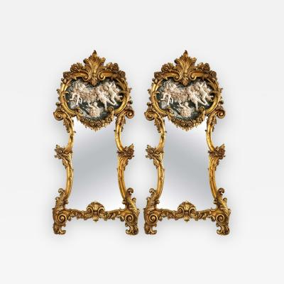 Italian Gilt and Composite Wall or Console Trumeau Mirrors a Large Pair