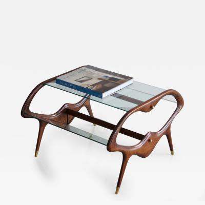 Italian Glass and Walnut Table and Magazine Stand