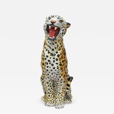 Italian Glazed Terracotta Life Size Leopard Figure