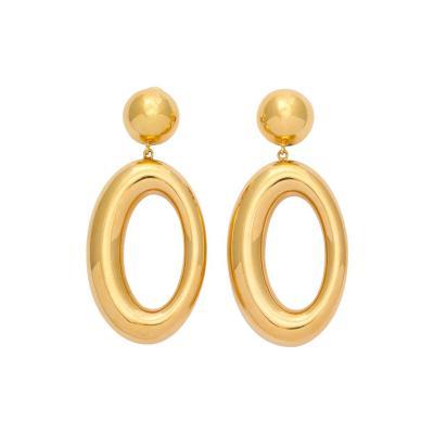 Italian Gold Earrings with Asymmetric Hoop