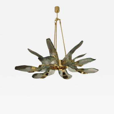 Italian Gold Plated Murano Glass Petals Chandelier