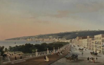 Italian Gouache Depicting a View of Posillipo from Naples 19th Century