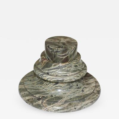 Italian Gray Marble Inkwell 20th Century