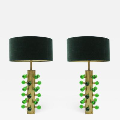 Italian Green Murano Glass and Brass Base Table Lamps