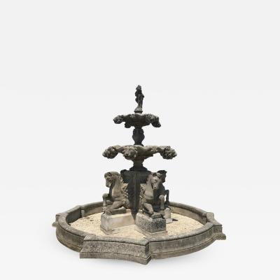Italian Hand Carved Stone Tiered Water Fountain