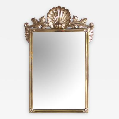 Italian Hollywood Regency solid brass mirror by Decorative Arts Inc