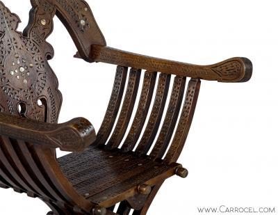 Italian Inlaid Folding Savonarola Chair