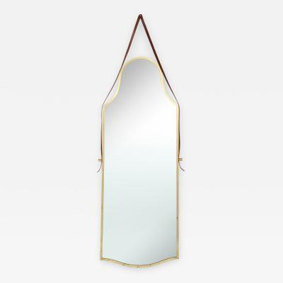 Italian Large Brass Elegantly Shaped Mirror with Leather Strap