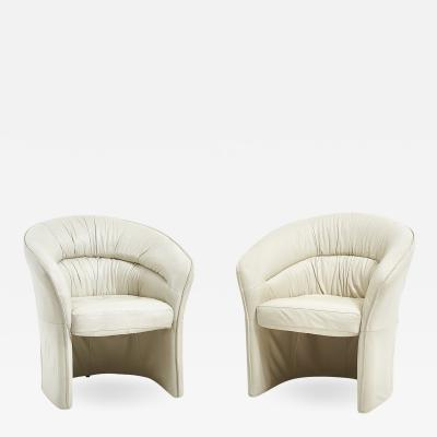 Italian Leather Barrell Lounge Chairs 1980