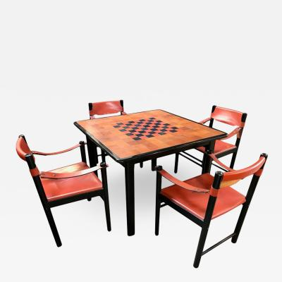 Italian Leather Game Dining Table with Set Black Chairs in Brown Leather 1960s