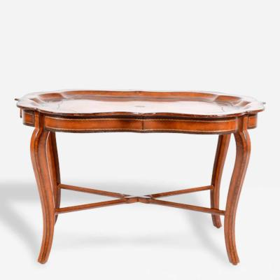 Italian Leather Tray on Stand