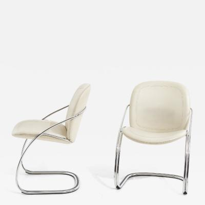 Italian Leather and Chrome Pair Side Chairs Gastone Rinaldi RIMA 1970