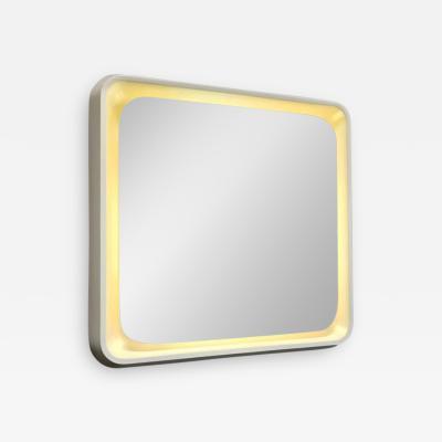 Italian Lighted Square Mirror 1970s
