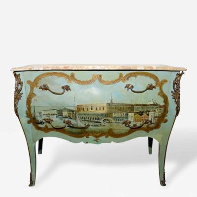 Italian Louis XV Commode Painted Venetian Scene 19th Century