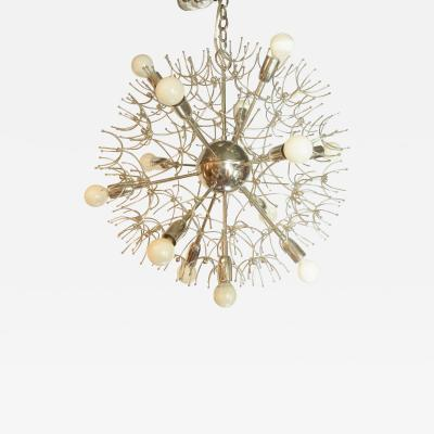 Italian MId Century Thirteen Light Chrome Sputnik Chandelier with Starbursts