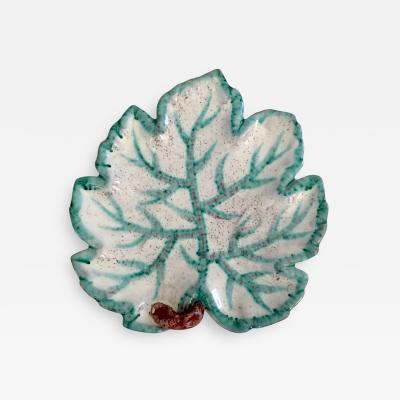 Italian Majolica Leaf Motif Plate