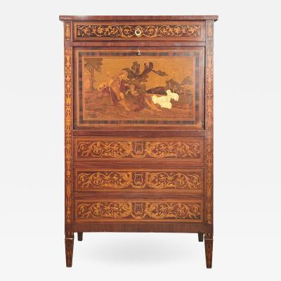Italian Marquetry Cabinet with Fall Front Bar