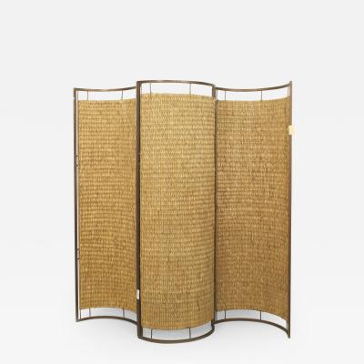 Italian Mid Century 3 Concave Panel Woven Rattan Screen