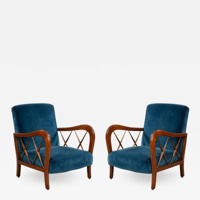 Italian Mid Century Blue Velvet and Walnut Lounge Armchairs