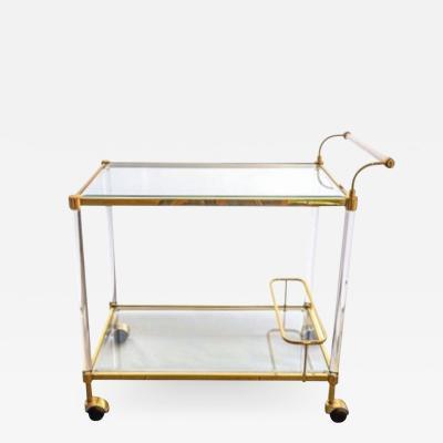 Italian Mid Century Brass Glass Two Tier Bar cart