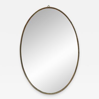 Italian Mid Century Brass Oval Mirror 1950s