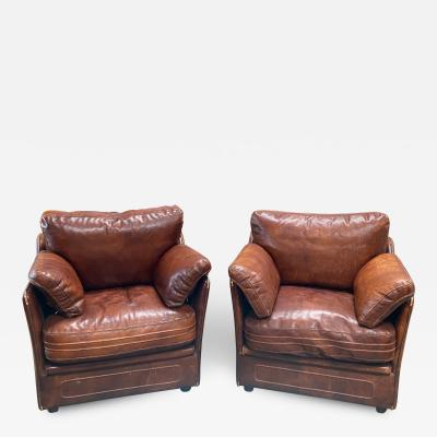 Italian Mid Century Leather Armchairs 1960s