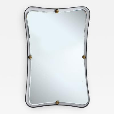 Italian Mid Century Mirror with Iron Frame and Brass Studs c 1960