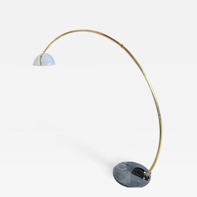 Italian Mid Century Modern Brass Arc Floor Lamp 1970s