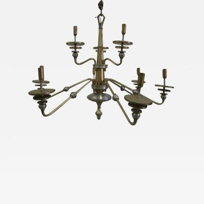 Italian Mid Century Modern Design Double Level Chandelier in Brass Nickel