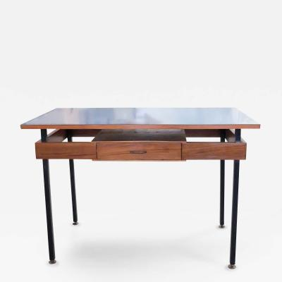 Italian Mid Century Modern Desk with Blue Veneer Tabletop 1950s