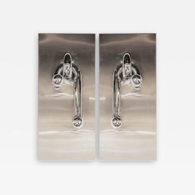 Italian Mid Century Modern Sculptural Sconces in Chrome and Brushed Aluminum