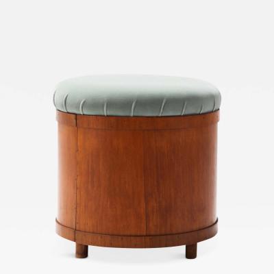 Italian Mid Century Modern Velvet Upholstered Ottoman with Storage 1950s