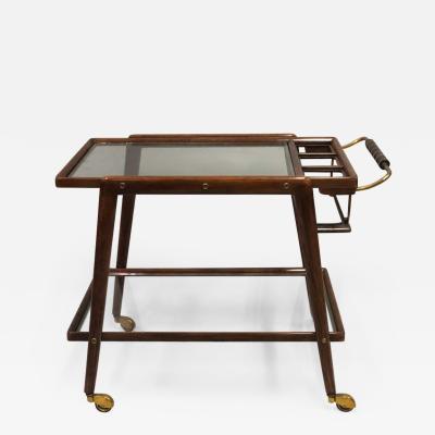 Italian Mid Century Modern Walnut and Glass Bar Cart by Cesare Lacca